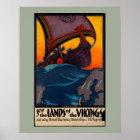 Scandinavian Vintage Travel Ad with Viking Ship Poster