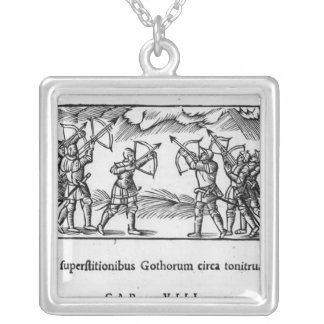 Scandinavians using their arrows silver plated necklace