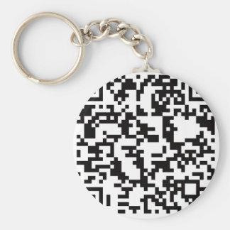 Scannable QR Bar code Basic Round Button Key Ring