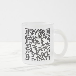 Scannable QR Bar code Frosted Glass Mug