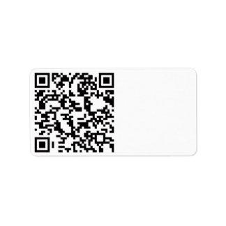 Scannable QR Bar code Label