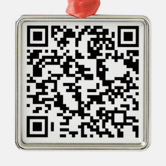 Scannable QR Bar code Silver-Colored Square Decoration