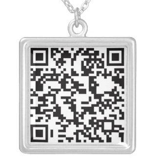 Scannable QR Bar code Square Pendant Necklace