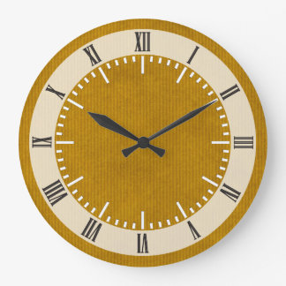 Scanned Kraft Paper Texture Strong Mustard Wall Clock