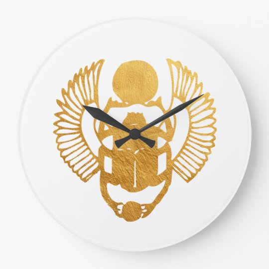 Scarab Egypt. Egyptian Winged Scarab Beetle. Large Clock