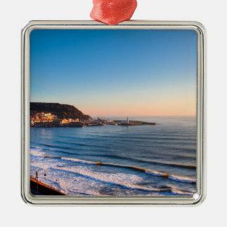 Scarborough Coastline Silver-Colored Square Decoration