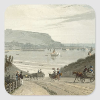 Scarborough, Yorkshire, from Volume VI of 'A Voyag Square Sticker