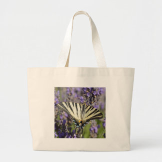 Scarce Swallowtail butterfly on lavender Large Tote Bag