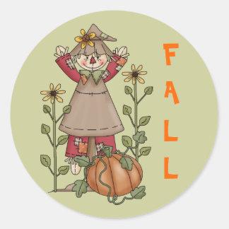 Scarecrow 1 Pumpkin Fall Sunflowers Classic Round Sticker