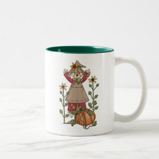 Scarecrow 1 Pumpkin Fall Sunflowers Two-Tone Coffee Mug