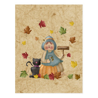 Scarecrow and his black cat postcard