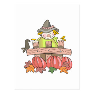 SCARECROW AND PUMPKINS POST CARD