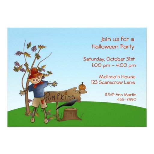 Scarecrow Autumn Halloween Invitation