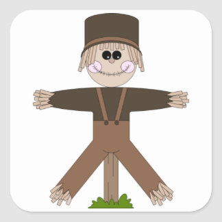 Scarecrow Brown Square Sticker