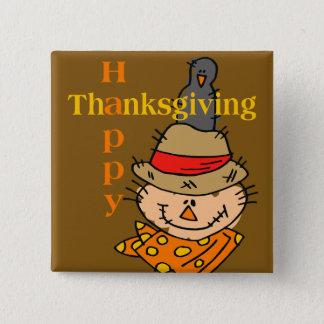 Scarecrow & Crow Thanksgiving 15 Cm Square Badge