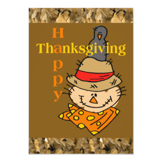 Scarecrow & Crow Thanksgiving 5x7 Paper Invitation Card