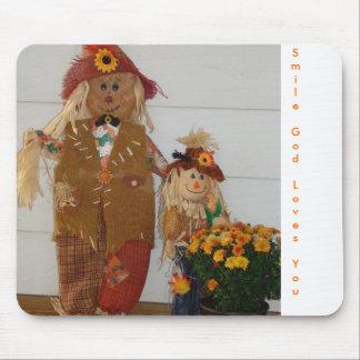 Scarecrow Duo&Mums, SmileGodLovesYou Mouse Pad