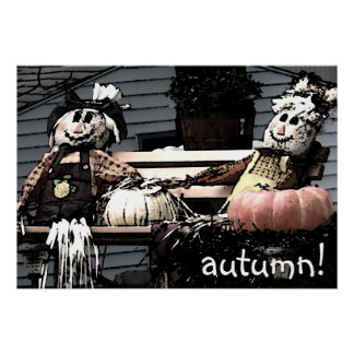 Scarecrow Friends Autumn Picture Poster