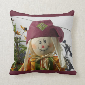 Scarecrow Girl Throw Pillow