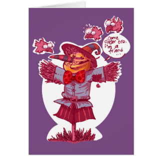 scarecrow gives friendship message cartoon card