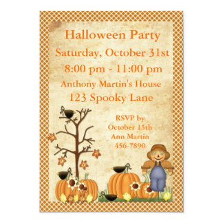 Scarecrow Halloween Party Invitation