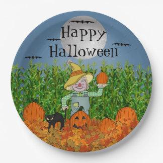 Scarecrow Happy Halloween Paper Plates