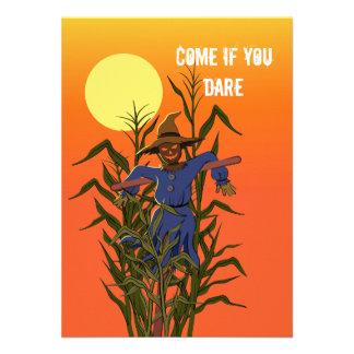 Scarecrow in a corn field custom announcement