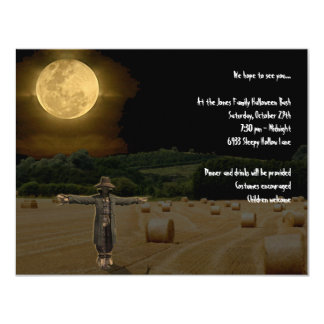 """Scarecrow in the Hay Field under the Full Moon 4.25"""" X 5.5"""" Invitation Card"""