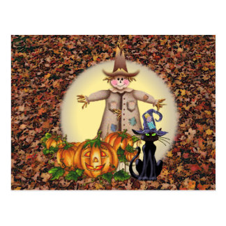 SCARECROW JACK CAT by SHARON SHARPE Postcard