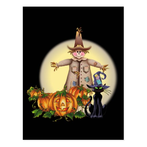 SCARECROW, JACK & CAT by SHARON SHARPE Postcards