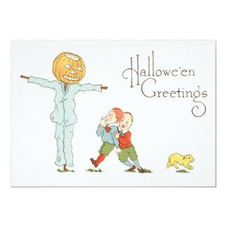 Scarecrow Jack O' Lantern Pumpkin Children Dog 13 Cm X 18 Cm Invitation Card