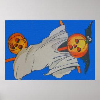 Scarecrow Jack O' Lantern Pumpkin Ghost Poster