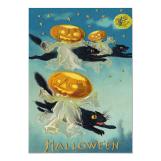 Scarecrow Jack O Lantern Pumpkin Stars Full Moon 13 Cm X 18 Cm Invitation Card
