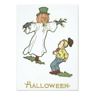 Scarecrow Jack O' Lantern Scared Boy 13 Cm X 18 Cm Invitation Card