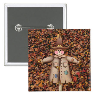 SCARECROW & LEAVES by SHARON SHARPE 15 Cm Square Badge
