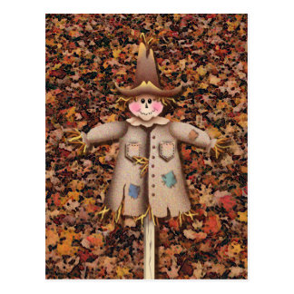 SCARECROW & LEAVES by SHARON SHARPE Postcard
