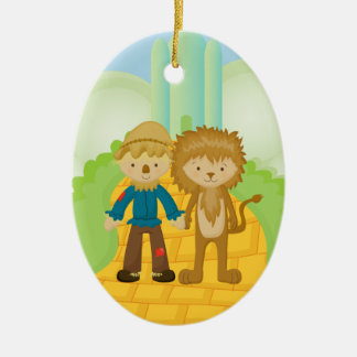Scarecrow & Lion on Yellow Brick Road Ornament