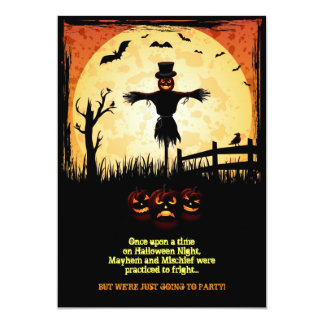 "Scarecrow Moonlight Halloween Party Card 5"" X 7"" Invitation Card"