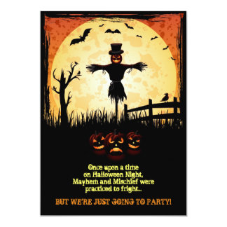 "Scarecrow Moonlight Halloween Party Invites 5"" X 7"" Invitation Card"