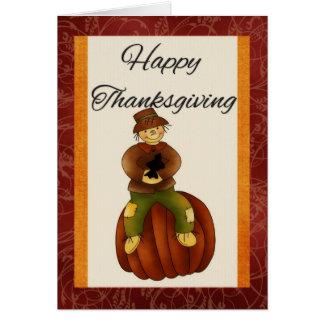 Scarecrow on Pumpkin Happy Thanksgiving Card