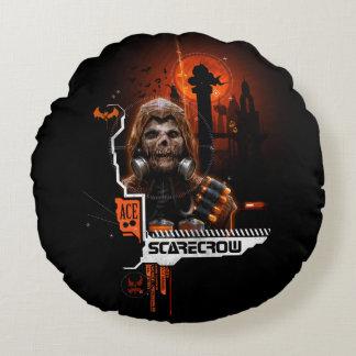 Scarecrow Orange Graphic Round Cushion