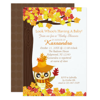 Scarecrow Owl In Fall Leaves Baby Shower Card