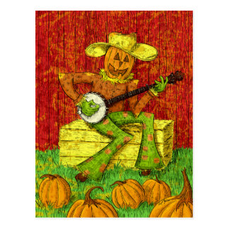 Scarecrow playing the banjo painting postcard
