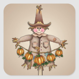 SCARECROW & PUMPKIN GARLAND by SHARON SHARPE Square Sticker