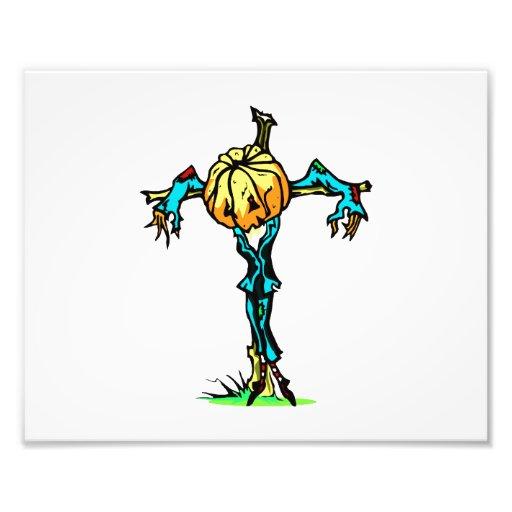 scarecrow pumpkin head down halloween photographic print