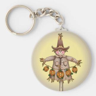 SCARECROW & PUMPKIN JACK GARLAND by SHARON SHARPE Basic Round Button Key Ring