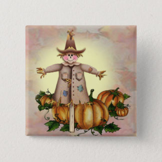 SCARECROW & PUMPKIN PATCH by SHARON SHARPE 15 Cm Square Badge
