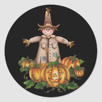 SCARECROW & PUMPKIN PATCH by SHARON SHARPE Classic Round Sticker