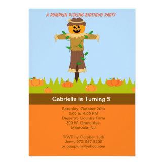 Scarecrow Pumpkin Picking Birthday Party Invites