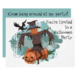 Scarecrow, Pumpkins and a Crow Halloween 13 Cm X 18 Cm Invitation Card